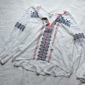 Forever21 Boho Embroidered Hippie Top - L